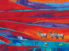 Greys in the Red | Carrie Wild Fine Art  Contemporary Horse Painting