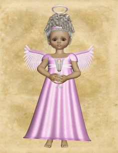 "Pink Angel Image, Angel Holding Candle, Angel Cutout, 3D Angel Template, Large 3D Angel Graphics Sheet ""Magenta Angel"" Transfer Template by FosterChildWhimsy on Etsy"