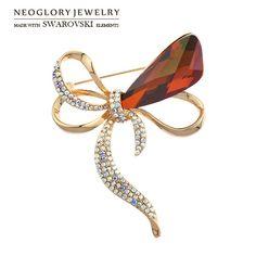 Neoglory Austria Crystal & Rhinestone Brooch Della Lega Placcato Oro Squisito Disegno di Bowknot Dei Monili di Vendita di Inverno Per La Signora Trendy Regalo
