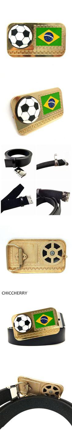 Men's Cool Black PU Leather Waist Belt with Brazilian Flag Rotated Football Squar Novelty Metal Belt Buckles Metal For Men Jeans