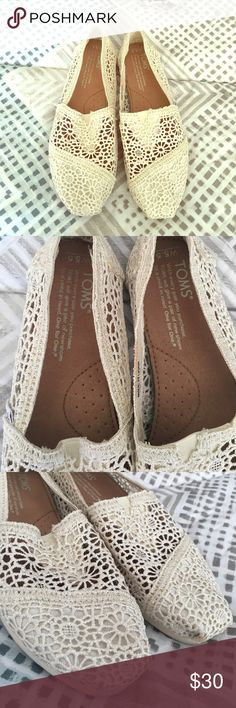 Ivory lace Toms Like new! Beautiful lace detail. Super comfy! TOMS Shoes Slippers