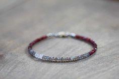Labradorite and Red Garnet Bracelet, Delicate Multi Gemstone Bracelet, Beaded Labradorite Bracelet, Skinny Stacking Gemstone Bracelet