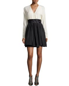 TA1K3 Halston Heritage Combo Dress with Pleated Waist, Chalk/Black