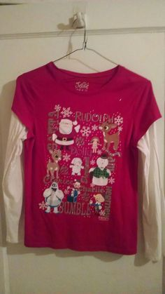 Justice Red Double Sleeve Christmas Top Girls Size 18 justice Girls Top  #Justice