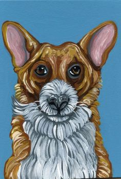 ACEO Original Art Painting Corgi Pet Dog Art-Carla Smale #Impressionism