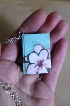 Mini book necklace, hardback miniature cherry blossom notebook by TheCraftFantastic on Etsy Book Necklace, Leather Bookmark, Book Jewelry, Mini Books, Book Lovers, Etsy Seller, Miniatures, Valentines, Crafty