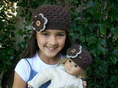 Ravelry: luvmygirlies' Dolly & Me Crochet Hats.  Free pattern.