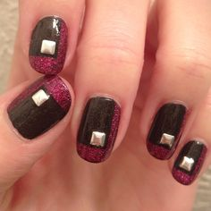 Tape and a few studs helped me create this mani with an edge. Nail Polish: A England - Bridal Veil, Orly - Miss Conduct, Seche Vite - Dry Fast Top Coat