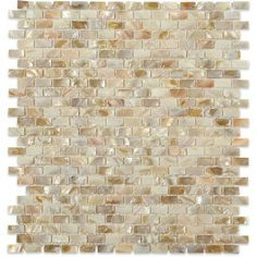 Splashback Tile Baroque Pearls Mini Brick 12 in. x 12 in. Pearl Glass Mosaic Floor and Wall Tile, Beige/Ivory