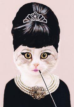 hepburn cat, Cat Print, cat art, cat poster, kitty print, kitty poster, cat artwork, cat fine art, surrealist cat, funny cat, cat painting, batman cat