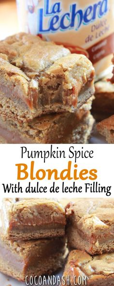 These Pumpkin Spice Blondies are filled with ooey gooey Dulce De Leche! They are the perfect fall treat! #dulcedeleche #pumpkin #pumpkinspice