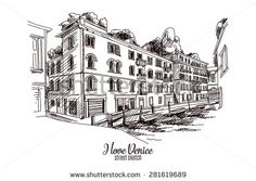Hand drawn vector illustration. Venice. Street sketch. Vintage. - stock vector