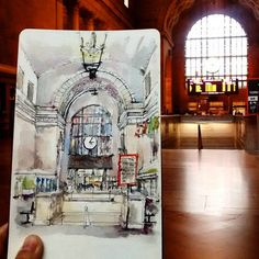 20150912 Sketching at Union Station - Great Hall, Toronto. Moleskine Sketchbook, Picture Boards, Union Station, Urban Sketchers, Sketching, Watercolor Paintings, Toronto, Vintage World Maps, Architecture