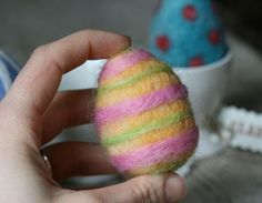 A common technique for Needle felting  Easter Eggs