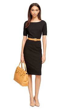 "Office Chic - Your work LBD that screams ""I'm A #BOSS."" Ponte Sheath Dress, $198; Brooks Brothers."