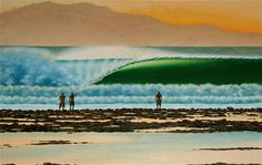 G-Land, Java, Indonesia. This painting either inspired, or was inspired by the Quiksilver G-Land competition poster from the mid 90s