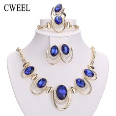 Good Price $5.80, Buy CWEEL New African Jewelry Sets Gold Color White Imitated Blue/Crystal Women Wedding Necklace Bracelet Earring Ring Set