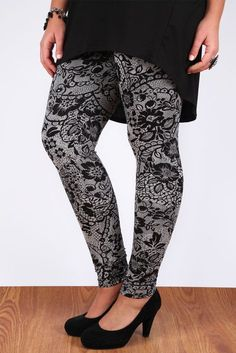 Grey And Black Floral Lace Print Full Length Leggings: Amazon.co.uk: Clothing
