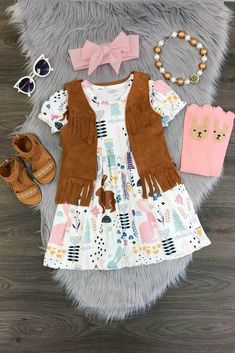86aad8543cb9 Girls 2 PC Dress and Vest Outfit Toddler Baby Kids Clothing Easter Boutique  Set #SkirtOutfit