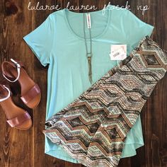 LuLaRoe Azure Skirts & Classic Tees, perfect for warm, sunny days! Come join my VIP shopping group for more beautifully paired outfits by me. LuLaRoe Lauren Floeck VIP on Facebook