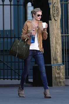 Rosie Huntington Whitely-Isabel Marant Sade Jacket, Pierre Balmain Skinny Jeans and Givenchy Boots