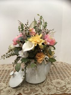 Beautiful White Glass Coffee Pot with Cala Lilies, Light Pink Roses and a Mixture of Spring Flowers, Spring or Summer Floral Arrangement by SheilasHomeCreations on Etsy