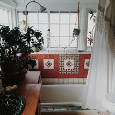 bathrooms should have two things: breezy window for ventilation (your towels should dry) and a plant; especially a plant that loves a humid environ.