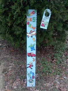 Pixar/disney planes,toy story,incredables, cars, monster inc growth chart and matching door knob hanger hand drawn and hand painted www.facebook.com/andbabymakesthreee  and can do any theme or design