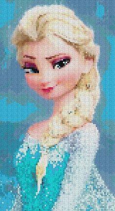 Patrón en PDF de punto cruz Frozen Elsa, cross stitch PAttern on Etsy, $7.00