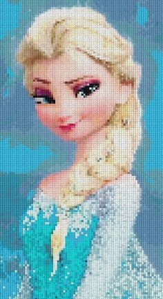 Patrón en PDF de punto cruz Frozen Elsa, cross stitch PAttern on Etsy, $7.00