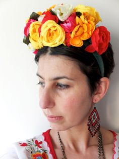 How To: Frida Kahlo inspired Floral Headband ▽▼▽ My Poppet : your weekly dose of crafty inspiration