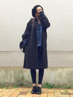 ドロップショルダーのオーバーサイズJKに デニムオンデニム♡ ヒートテック着て合計4枚着ていました