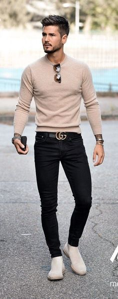 Simple fall outfit inspiration with beige sweater . - - Simple fall outfit inspiration with beige sweater … – - Mode Man, Moda Formal, Simple Fall Outfits, Stylish Mens Outfits, Outfits For Men, Clothes For Men, Mens Fall Outfits, Mens Dress Outfits, Man Outfit