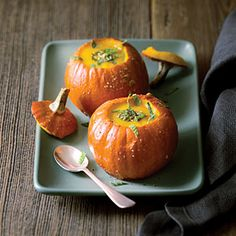 Recipe for pumpkin soup with pumpkin seed-mint pesto from Sunset Magazine. Like other pumpkin soup recipes, this one calls for chicken stock. To make vegetarian, simply use vegetable stock or plain water, as Mark Bittman suggests in many of his recipes.
