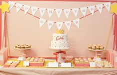 Princess birthday dessert table