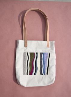 HFJAMES minimalist, handwoven, canvas and leather tote bag https://www.etsy.com/listing/488721186/minimalist-canvas-bag-with-hand-woven