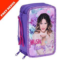 Penar triplu echipat fete Violetta Butterflies Disney Channel, Disney Frozen, Monster High, Minnie Mouse, Lunch Box, Butterfly, Amor, Music Notes, Butterflies