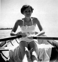 Eva Braun, later Mrs. Hitler for some 30 hours, rowing in this undated photograph. Eva loved the outdoors and, unlike Hitler, was very much into physical exercise. After the war, investigators discovered many personal Braun albums covering the entire war period.