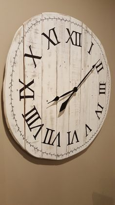 "28"" distressed white wood wall clock available at my Etsy shop @denimnheels #handmade"