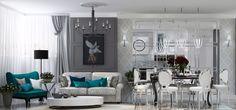 Дизайн гостиной, совмещённой с кухней  #gentle_chic