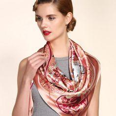 Veľká luxusná ženská hodvábna šatka - 106 x 106 cm Nylons, Silk Scarves, Hunters, Sally, Women's Fashion, Female, Elegant, Outfit, Accessories