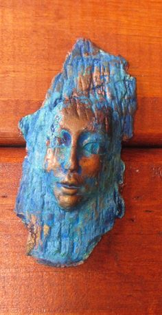 Weathered woodland face pendant/bead by chrispellowdesigns on Etsy, £4.50