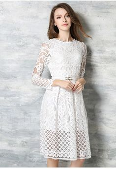 9b31e2b44e3 2017 Women Newest Summer And Spring Sexy Hollow Out Lace Dress Fashion Long  Sleeve Bohemian Slim Dress Ladies Party Dress-in Dresses from Women s  Clothing ...
