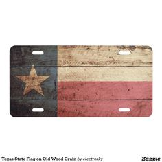 Texas State Flag on Old Wood Grain License Plate