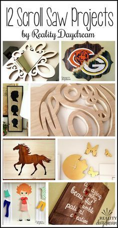 12 creative projects using a scroll saw... SO many possibilities! {Reality Daydream} #DIYsigns #woodendolls #silhouettes #monograms #woodenclocks #mirrorframe #scrollsawpatternsandprojects #scrollsawtutorials