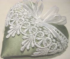 Sage Green Lavender Heart Sachet with Ornate by RebeccasHearts