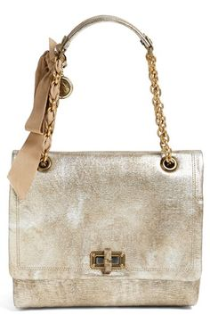 { Lavin 'Happy-Medium' Metallic Leather Flap Shoulder Bag }