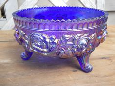 Antique Vintage Imperial Cobalt Blue Carnival Glass 3 Toed Bowl Lustre Rose | eBay