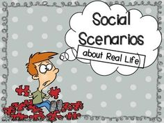 Social Scenarios for Middle School about Real Life! 45 task cards/answer cards with answer key and vocabulary cards! Social Skills Activities, Teaching Social Skills, Autism Activities, Speech Therapy Activities, Language Activities, Teaching Ideas, Middle School Counseling, School Social Work, School Ot