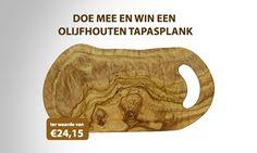 Win een hapjesplank (tapasplank) ter waarde van €24,15. Gemaakt van het mooiste olijfhout. We geven er in totaal 3 weg.